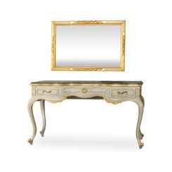 Watson Wood Light Grey Console Table with Mirror & Glass Top