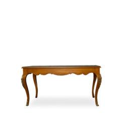 hari rectangular wood dining table with brass inlay