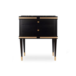 Arabelle 2 Drawers with Brass and Marble Bedside Table