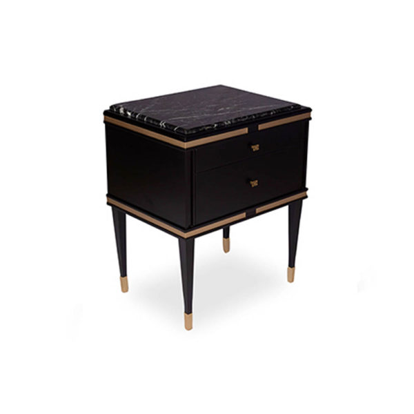Arabelle 2 Drawers with Brass and Marble Bedside Table Top View