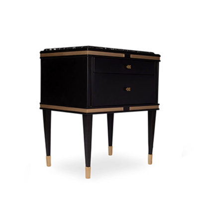 Arabelle 2 Drawers with Brass and Marble Bedside Table View