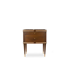 Arabelle 2 Drawers With Brass And Marble Top Bedside Table