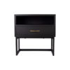 Ascot Black Bedside Table with Shelf and Stainless leg 2