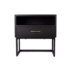Ascot Black Bedside Table with Shelf and Stainless leg