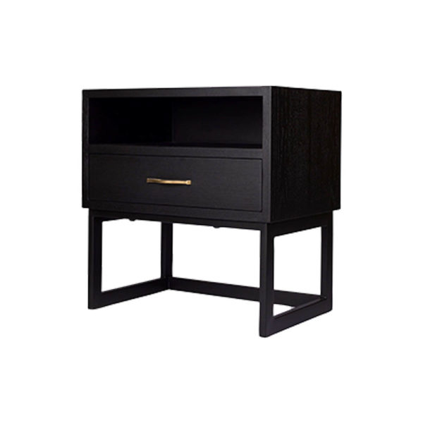 Ascot Black Bedside Table with Shelf and Stainless leg Side View
