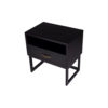 Ascot Black Bedside Table with Shelf and Stainless leg 4