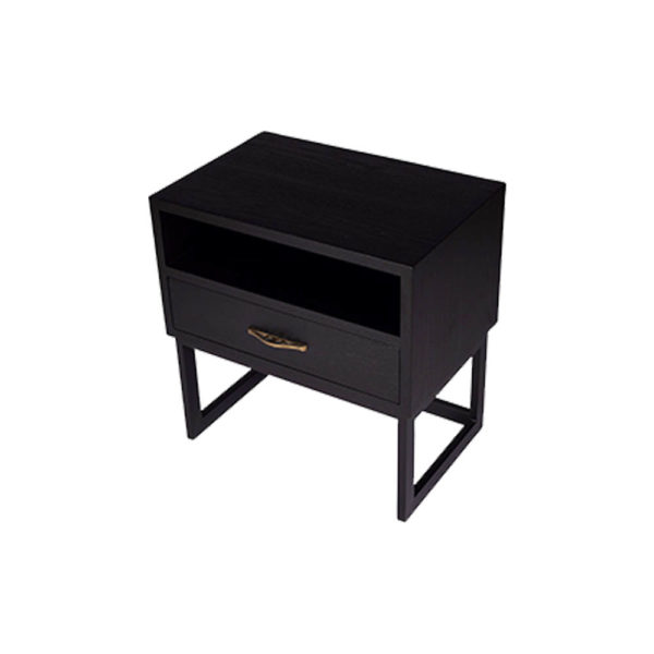 Ascot Black Bedside Table with Shelf and Stainless leg Top View
