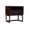 Ascot Black Brown Bedside Table with Shelf and Stainless Leg 4