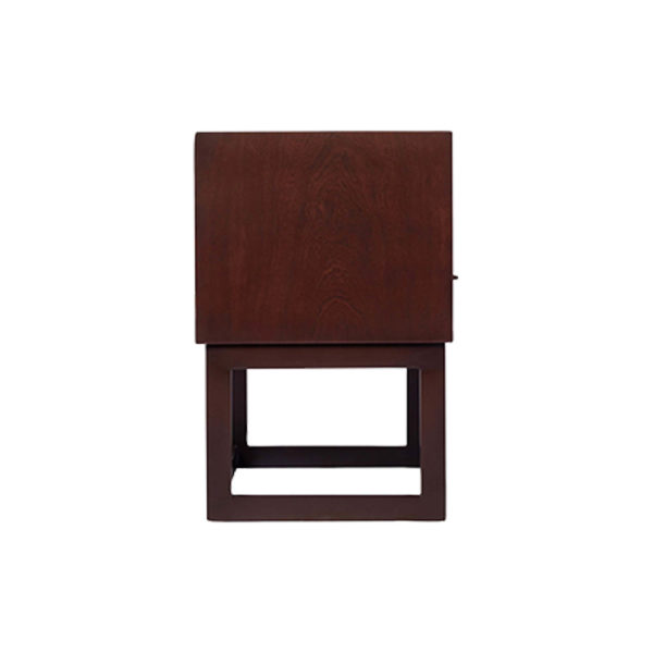 Ascot Black Brown Bedside Table with Shelf and Stainless Leg Side View