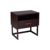 Ascot Black Brown Bedside Table with Shelf and Stainless Leg 2