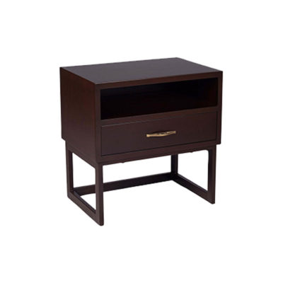 Ascot Black Brown Bedside Table with Shelf and Stainless Leg Top View