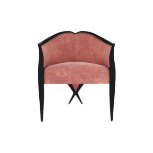 Bali Upholstered Wooden Frame Blush Velvet Armchair with Cross Legs