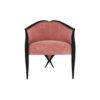 Bali Upholstered Wooden Frame Blush Velvet Armchair with Cross Legs 1