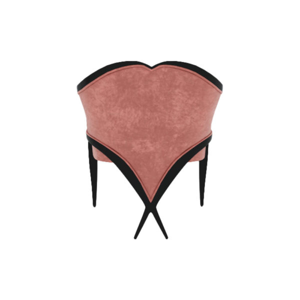 Bali Upholstered Wooden Frame Blush Velvet Armchair with Cross Legs Back View