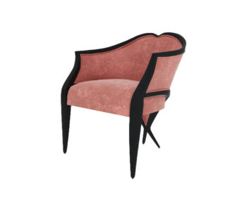 Bali Upholstered Wooden Frame Blush Velvet Armchair with Cross Legs Beside View