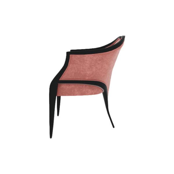 Bali Upholstered Wooden Frame Blush Velvet Armchair with Cross Legs Side View