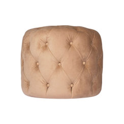 Boho Upholstered Round Tufted Beige Pouf