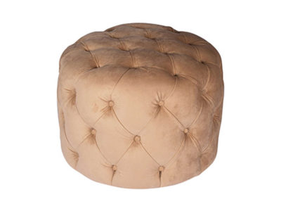 Boho Upholstered Round Tufted Beige Pouf Top View