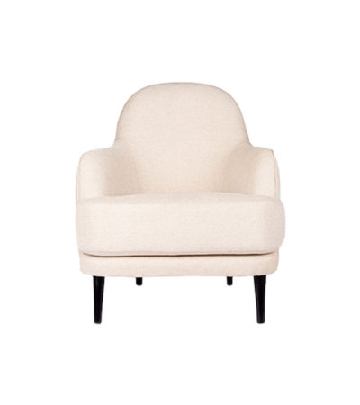 Declan Upholstered Highbacked Off White Armchair