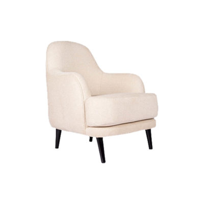 Declan Upholstered Highbacked Off White Armchair Side View