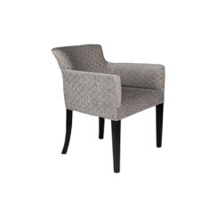 Eaton Upholstered Curved Grey Fabric Armchair Side View