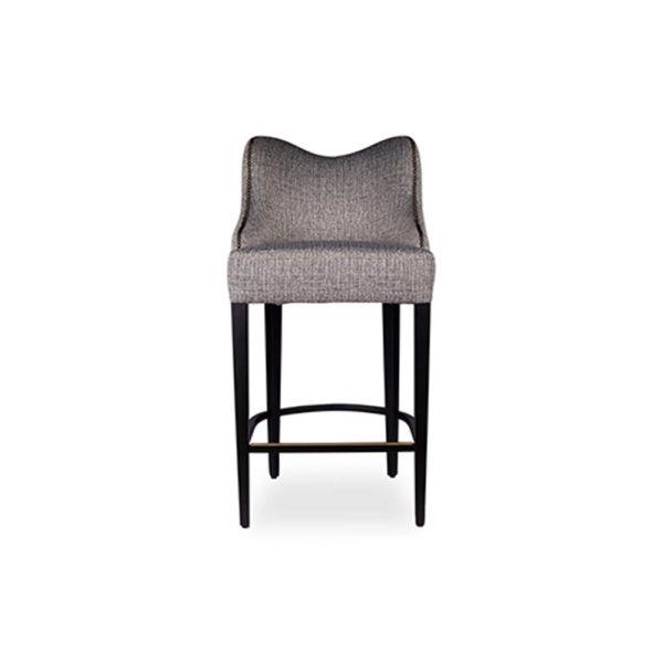 Elise Upholstered Studded Grey Fabric Bar Stool