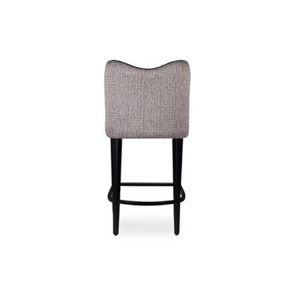 Elise Upholstered Studded Grey Fabric Bar Stool Back View