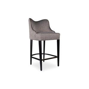 Elise Upholstered Studded Grey Fabric Bar Stool Side View