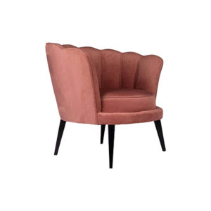 Flower Upholstered Blush Accent Chair Side View