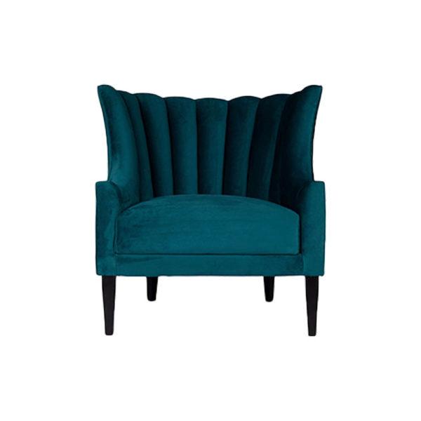 Georg Upholstered Blue Velvet Armchair with Round Back and Black Legs