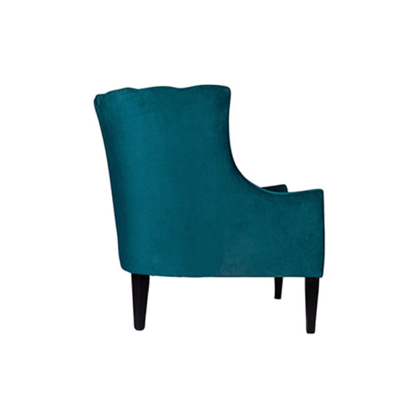 Georg Upholstered Blue Velvet Armchair with Round Back and Black Legs Right Side View C