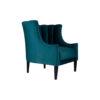 Georg Upholstered Blue Velvet Armchair with Round Back and Black Legs 2