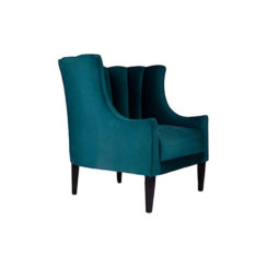 Georg Upholstered Blue Velvet Armchair with Round Back and Black Legs Side View