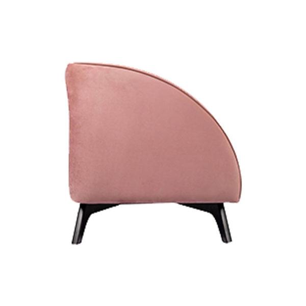 Jennifer Upholstered Striped Blush Velvet Sofa Side View