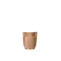 Jorge Upholstered Beige Velvet Round Pouffe