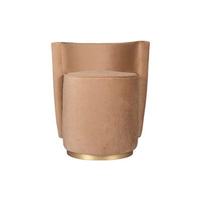 Jorge Upholstered Beige Velvet Round Pouffe with Brass Base