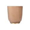 Jorge Upholstered Beige Velvet Round Pouffe with Brass Base 6