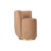 Jorge Upholstered Beige Velvet Round Pouffe with Brass Base 4