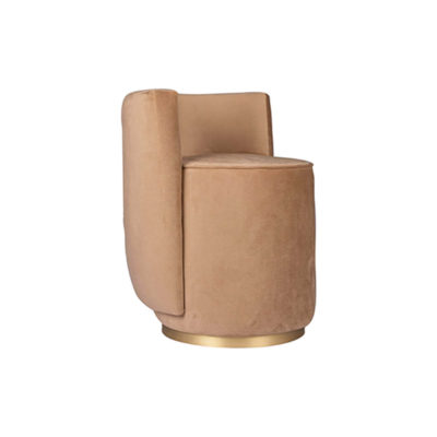 Jorge Upholstered Beige Velvet Round Pouffe with Brass Base Beside View