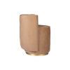 Jorge Upholstered Beige Velvet Round Pouffe with Brass Base 5