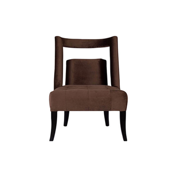 Mara Upholstered Tufted Brown Accent Chair