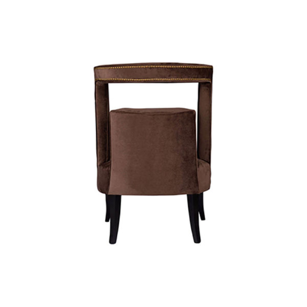 Mara Upholstered Tufted Brown Accent Chair Back View