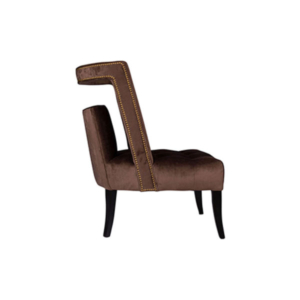 Mara Upholstered Tufted Brown Accent Chair Side View