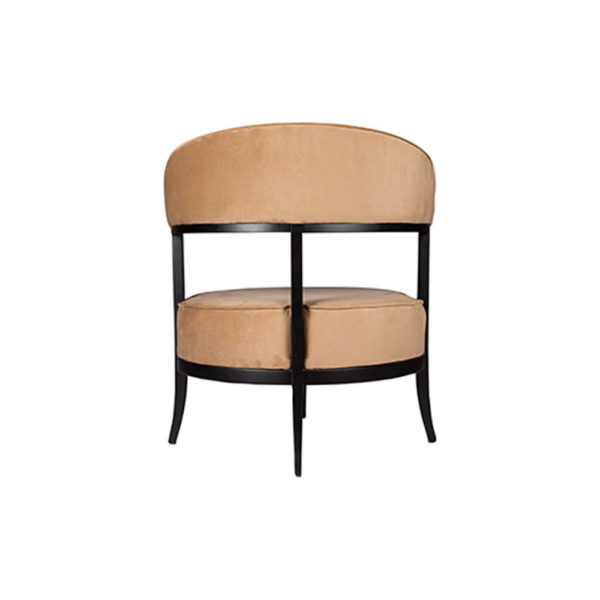 Renata Upholstered Round Back Beige Accent Chair Back View