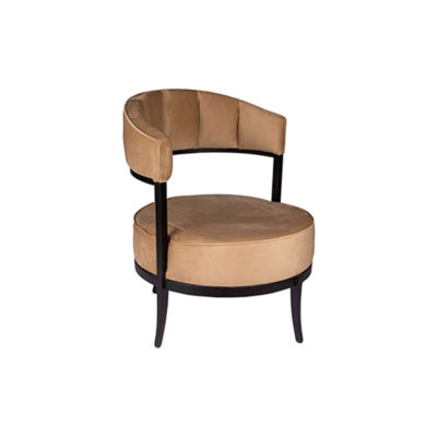 Renata Upholstered Round Back Beige Accent Chair Beside View