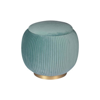 Rubi Upholstered Velvet Teal Pouf with Brass Base Top View