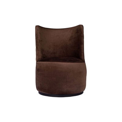 Skylar Upholstered Round Armless Brown Occasional Chair