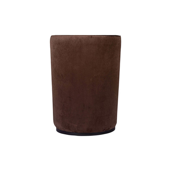 Skylar Upholstered Round Armless Brown Occasional Chair Back View