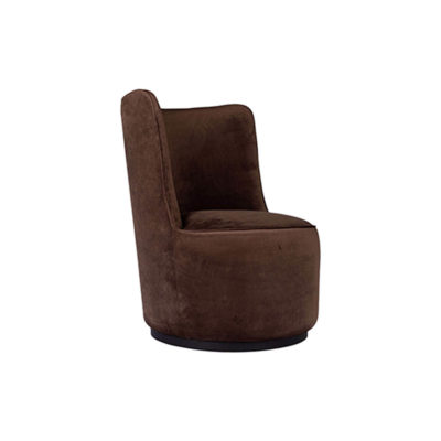 Skylar Upholstered Round Armless Brown Occasional Chair Beside View