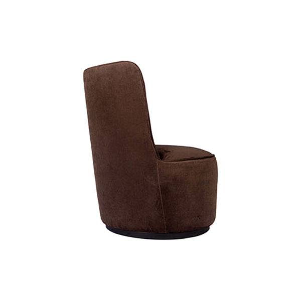 Skylar Upholstered Round Armless Brown Occasional Chair Right Side View